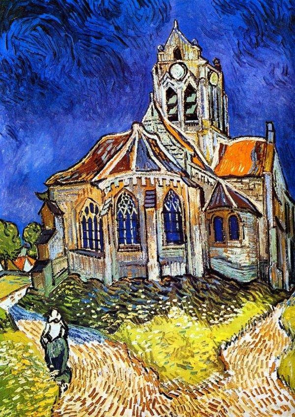 Van Gogh, Vincent: The Church at Auvers-sur-Oise, 1890. Fine Art Print/Poster. Sizes: A4/A3/A2/A1 (001771)